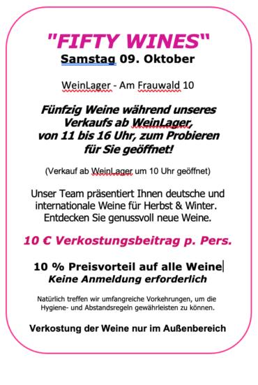 """""""Fifty Wines"""" die Weinverkostung am WeinLager Samstag 09.10.        11:00 bis 16:00 Uhr"""